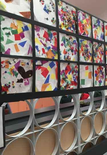 Marie Reed Bilingual Elementary School student artwork display