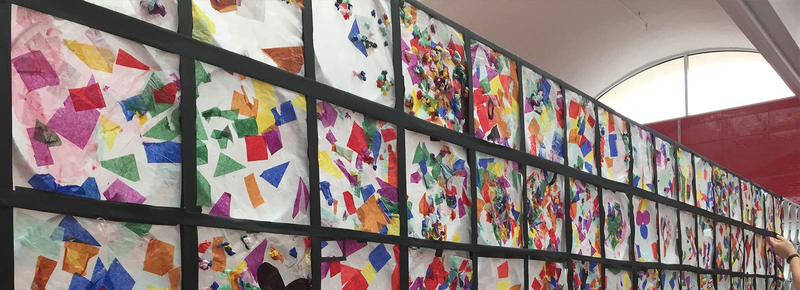 Marie Reed Elementary School children's art work wall display