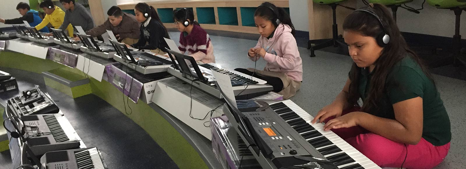 Marie Reed Elementary School students playing Music